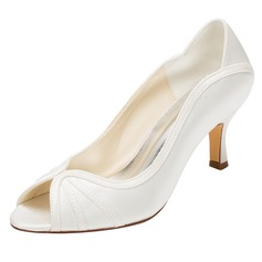 Kvinnor siden som satin Stilettklack Peep Toe Pumps