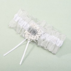 Gorgeous White Organza With Ribbons/Flower Wedding Garters