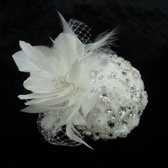 Stylish Rhinestone Pearl Feather Lace Fascinators