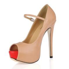 Konstläder Stilettklack Sandaler Plattform Peep Toe med Buckle skor
