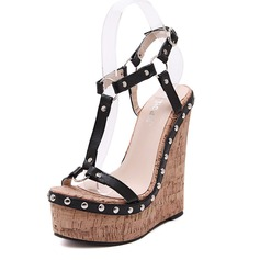 Women's Leatherette Wedge Heel Sandals Wedges Peep Toe With Rivet shoes