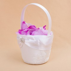 Beautiful Flower Basket in Satin With Embroidery