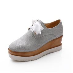 Suni deri Dolgu Topuk Pompalar Kapalı Toe ayakkabı