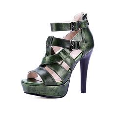 Femmes Vrai cuir Talon stiletto Sandales Escarpins Plateforme À bout ouvert chaussures