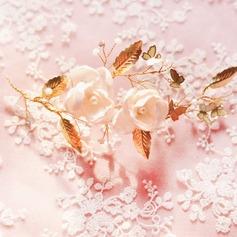 Elegant Artificial Silk/Copper Flowers & Feathers