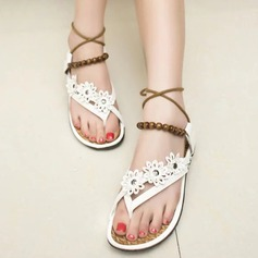 Women's Leatherette Flat Heel Sandals Peep Toe Slingbacks With Beading Chain Lace-up Flower shoes