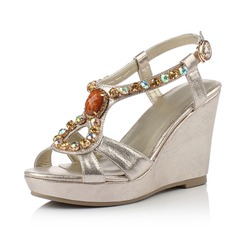 Leatherette Wedge Heel Wedges With Rhinestone shoes