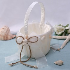Flower Basket in Satin With Starfish and Seashell
