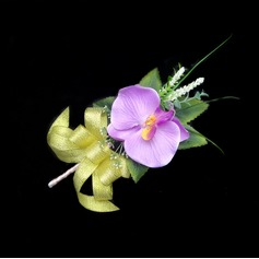 Fascinating Free-Form Satin/Cotton Boutonniere