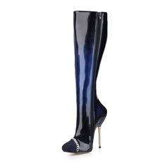 Donna Camoscio Pelle verniciata Tacco a spillo Stiletto Punta chiusa Stivali Stivali al ginocchio con Catenina scarpe