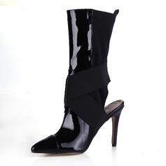 Leatherette Cloth Stiletto Heel Mid-Calf Boots shoes
