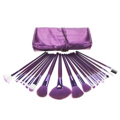21 Pcs Nylon Hair Makeup Brush Set With Purple Pouch