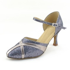 Femmes Similicuir Pailletes scintillantes Talons Escarpins Salle de bal avec Lanière de cheville Chaussures de danse