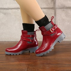 Women's PVC Low Heel Boots Rain Boots With Buckle shoes