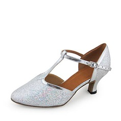 Women's Leatherette Sparkling Glitter Heels Pumps Ballroom With T-Strap Dance Shoes