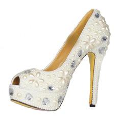 Patentert Lær Stiletto Hæl Sandaler Platform Titte Tå med Rhinestone Imitert Perle sko