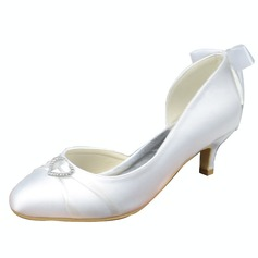 Women's Satin Kitten Heel Closed Toe Pumps With Bowknot Rhinestone