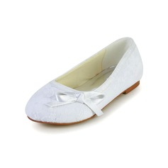 Kids' Lace Satin Flat Heel Closed Toe Flats With Bowknot