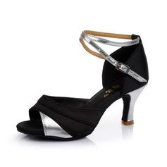 Dámské Satin Koženka Na podpatku Sandály Latinské S Pásek přes kotník Taneční boty