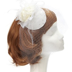 Charming Artificial Silk/Net Yarn Fascinators With Rhinestone