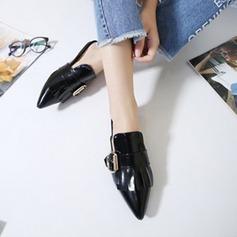 Vrouwen Patent Leather Flat Heel Flats Closed Toe Slingbacks Slippers met strik Gesp schoenen