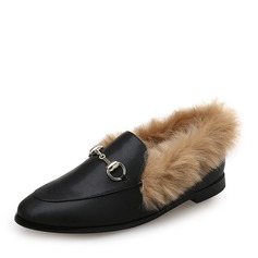 Women's Leatherette Flat Heel Flats Closed Toe With Chain Fur shoes