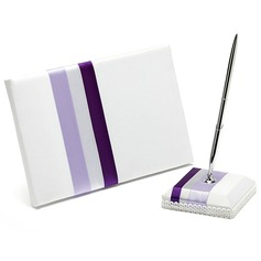 Stripe Design Satin Sash Guestbook/Pen Set