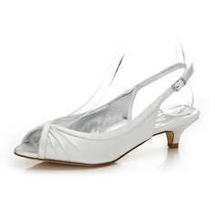 Women's Satin Low Heel Peep Toe Slingbacks Dyeable Shoes
