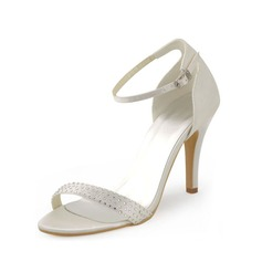 Naisten silkki kuten satiini Piikkikorko Peep toe Avokkaat Sandaalit jossa Tekojalokivi