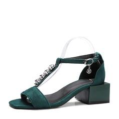 Femmes Suède Talon bottier Sandales À bout ouvert avec Strass chaussures