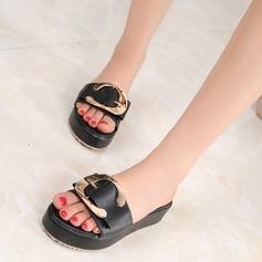 Femmes Cuir en microfibre Talon plat Chaussures plates À bout ouvert Chaussons avec Boucle chaussures