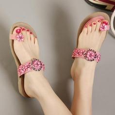 Femmes Similicuir Talon plat Sandales Chaussures plates À bout ouvert avec Strass chaussures