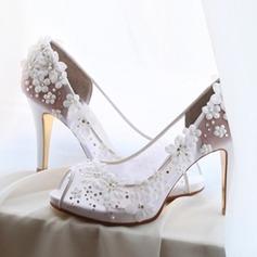Femmes Mesh Talon stiletto À bout ouvert Beach Wedding Shoes avec Strass Motif appliqué
