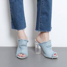 Kvinnor Jeans Tjockt Häl Sandaler Pumps Peep Toe Slingbacks Tofflor skor
