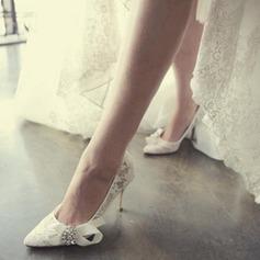 Femmes Dentelle Talon stiletto Bout fermé Beach Wedding Shoes avec Strass Cravate ruban