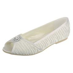 Women's Silk Like Satin Flat Heel Flats Peep Toe Sandals With Rhinestone