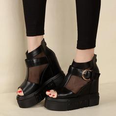 Kadın Suni deri Kumaş Daireler Peep Toe Ile Toka Fermuar ayakkabı