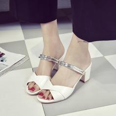 Dla kobiet PU Obcas Slupek Sandały Czólenka Otwarty Nosek Buta Bez Pięty Z Klamra obuwie