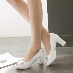 Women's Leatherette Chunky Heel Peep Toe Pumps Sandals With Bowknot