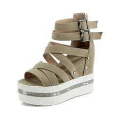 Women's Suede Wedge Heel Sandals Peep Toe shoes