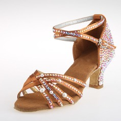Women's Satin Heels Latin Ballroom Salsa Wedding Party With Rhinestone Ankle Strap Dance Shoes