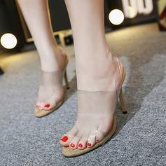 Dámské PVC Jehlový podpatek Sandály Peep Toe Lodičky s otevřenou patou obuv