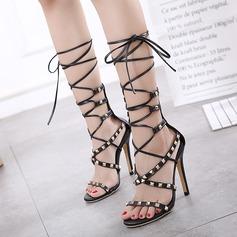 Kvinnor Konstläder Stilettklack Sandaler Pumps Peep Toe med Nita Zipper Bandage skor