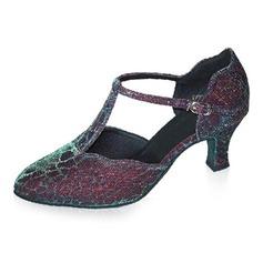 Women's Leatherette Heels Pumps Modern Ballroom With T-Strap Dance Shoes