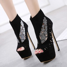 Women's Suede Stiletto Heel Sandals Pumps Platform Peep Toe Ankle Boots With Hollow-out shoes