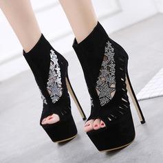 Kvinnor Mocka Stilettklack Sandaler Pumps Plattform Peep Toe Boots med Ihåliga ut skor