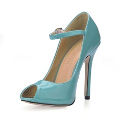 Patent Leather Stiletto Heel Sandals Peep Toe With Buckle shoes