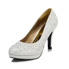 Women's Sparkling Glitter Cone Heel Closed Toe Pumps