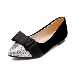 Suede Sparkling Glitter Flat Heel Flats Closed Toe With Bowknot shoes