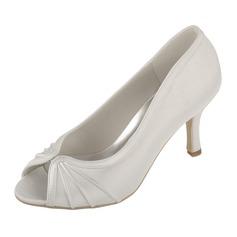 Frauen Satin Spule Absatz Peep Toe Sandalen mit Geraffte